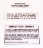 1978-79 CR125 Warning Decal Set